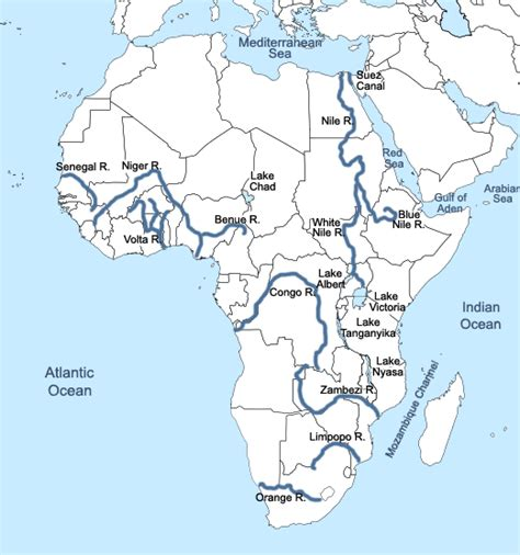 map of africa with rivers labeled learn something new