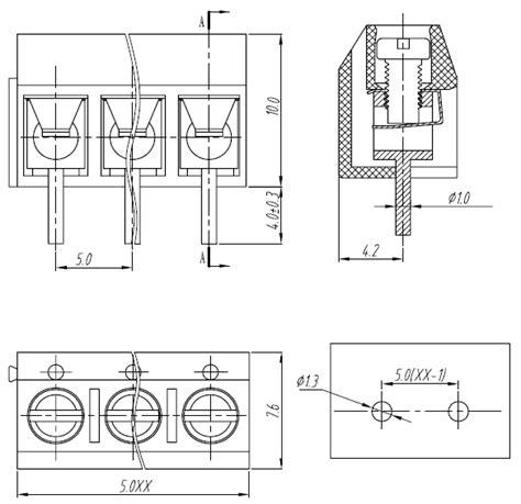 printable millimeter block pololu screw terminal block 2 pin 5 mm pitch side