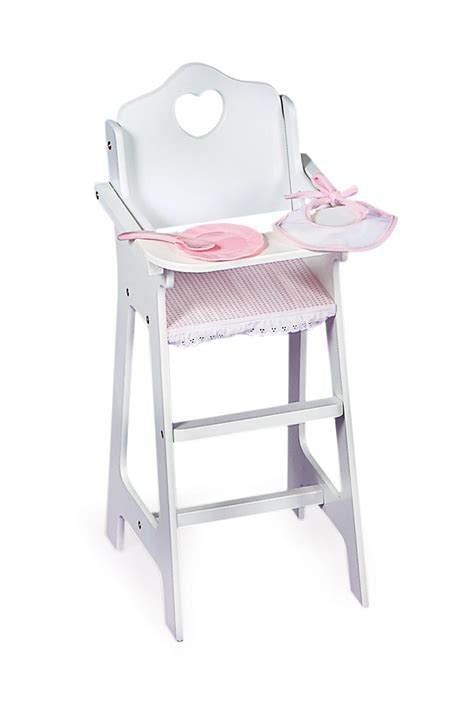 badger basket white doll high chair with pink gingham plate bib and spoon by oj commerce 01013