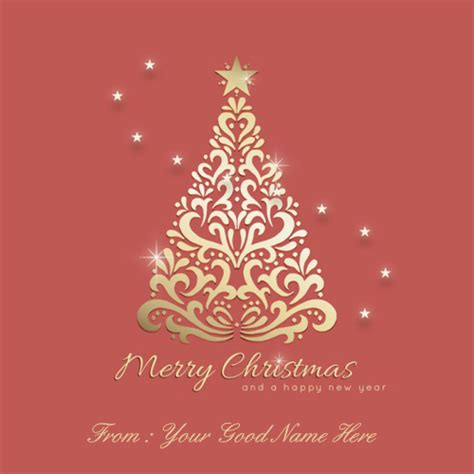 write your name on ornamental christmas tree background
