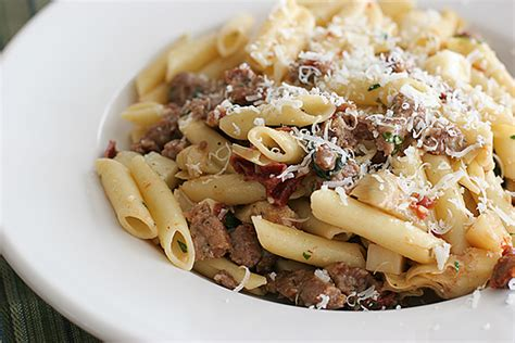 pasta sausage pasta with sausage artichokes and sun dried tomatoes