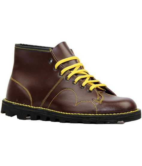 new mod retro mens monkey boots oxblood leather seventies