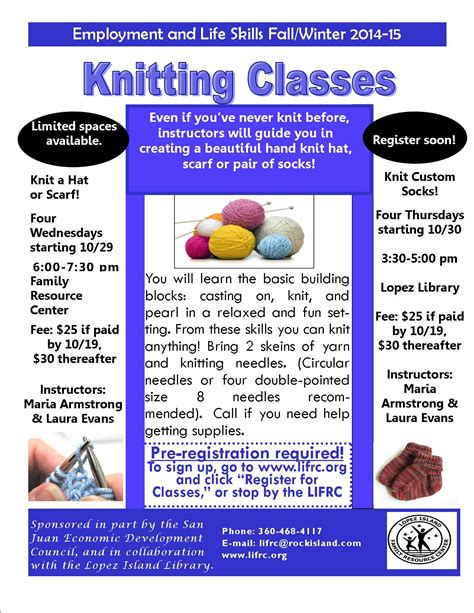 knitting classes knitting classes via the frc s employment skills