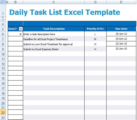 Daily Task List Excel Template Xls Microsoft Excel Templates Daily Task List Template