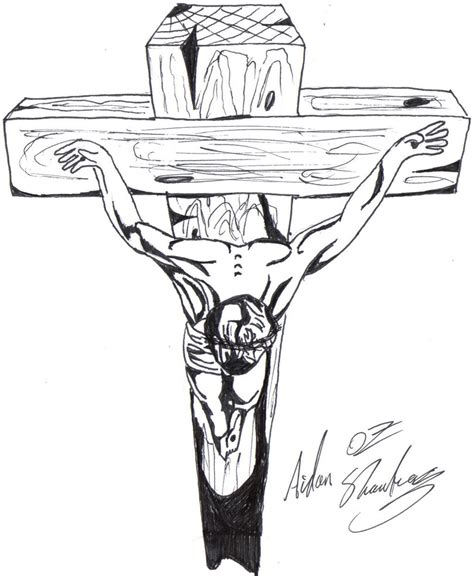 Christ On The Cross By Aidan8500 On Deviantart Drawing Of Jesus On The Cross 2