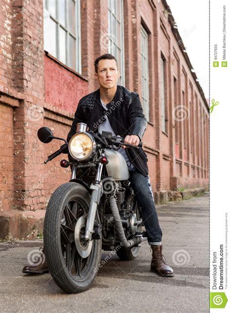 Leather Style Jaket Biker 19 sit on cafe racer custom motorbike stock image image 94727655