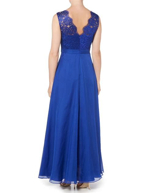 Js Blue js collections lace top dress with chiffon skirt in blue