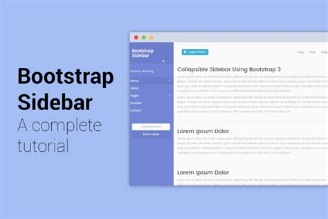 html side menu bar template bootstrap sidebar tutorial step by step tutorial with 5