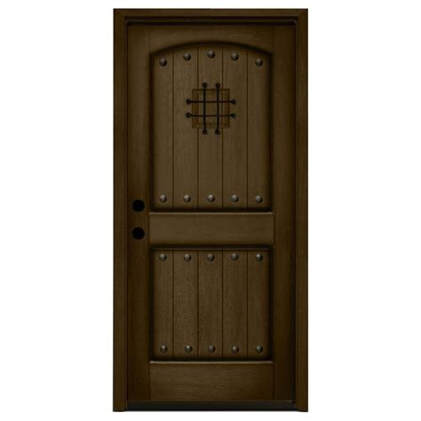 Steves And Sons Interior Doors Steves Sons 32 In X 80 In Rustic 2 Panel Speakeasy Stained Mahogany Wood Prehung Front Door