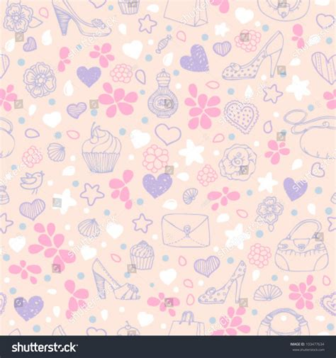 seamless pattern girly love girly seamless pattern in pink and violet colors