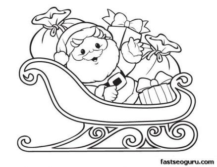 coloring pages of santa and his sleigh printable christmas santa claus with sleigh and gifts