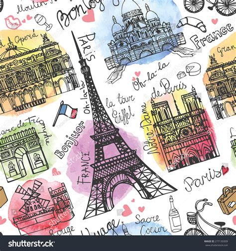travel pattern in french paris landmarklettering seamless patternwatercolor