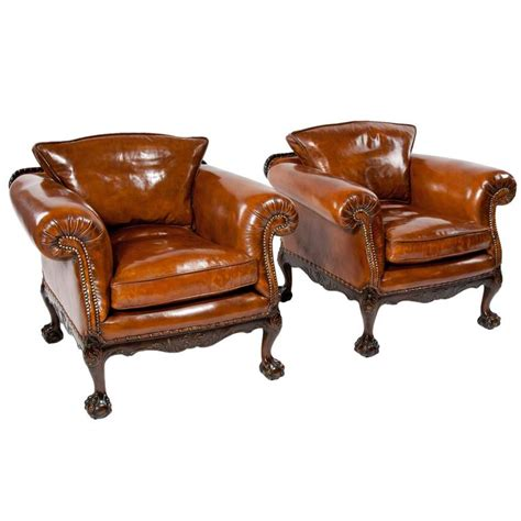Leather Armchairs Vintage by Wonderful Pair Of Antique Leather Armchairs At 1stdibs