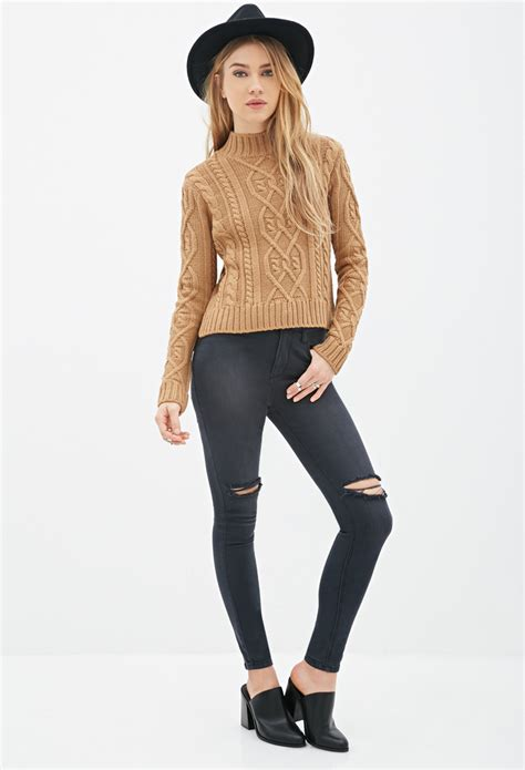 Sweater Rajut Pria Mock Turtleneck Green 1 forever 21 cable knit mock neck sweater in brown lyst