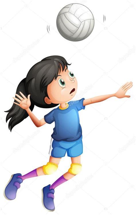 dibujos de niños jugando voleibol 一位年轻的女士 打排球 图库矢量图像 169 interactimages 47903509