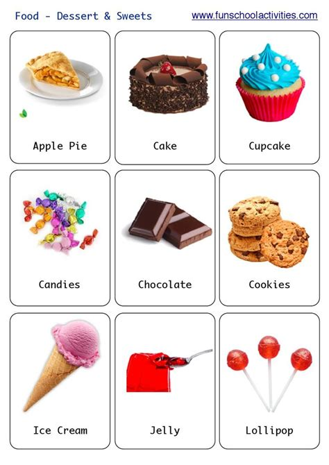 printable food flashcards for toddlers printable desserts and sweets flashcards flashcards