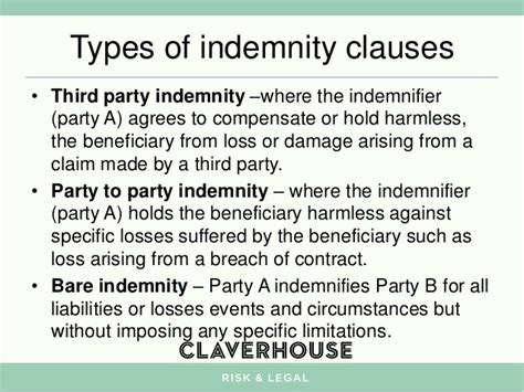 indemnity clause template indemnity clauses what they are how they work and how