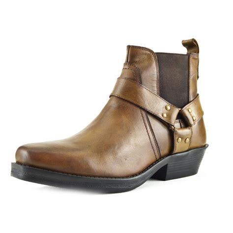 ankle cowboy boots mens leather cowboy biker ankle boots pointed toe western