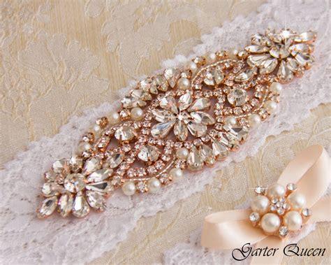Wedding Garter by Gold Wedding Garter Set Bridal Garter Set White Lace