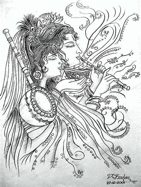 56 best drawings images on photos draw krishna with radha drawing gallery