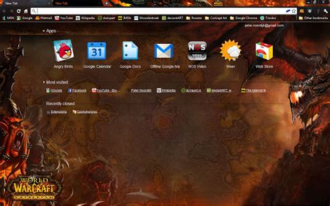 chrome themes wow world of warcraft cataclysm theme chrome web store