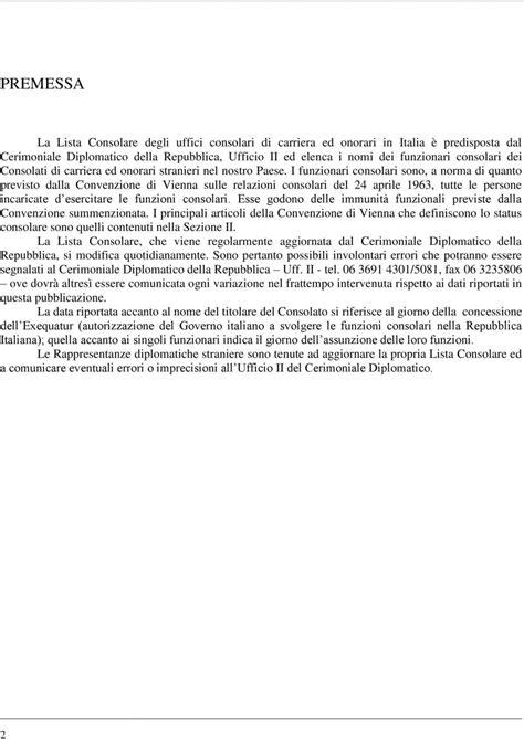 ministero affari esteri consolati consolati di carriera ed onorari esteri in italia pdf