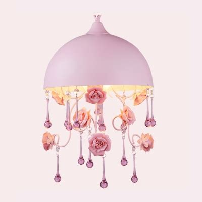 feminine pink hanging bedroom ceiling light fixtures romantic pink shade and hanging delicate rose motif made