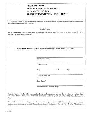 Blanket Exemption Certificate Ohio by Ohio Sales Tax Certificatepdffillercom Fill