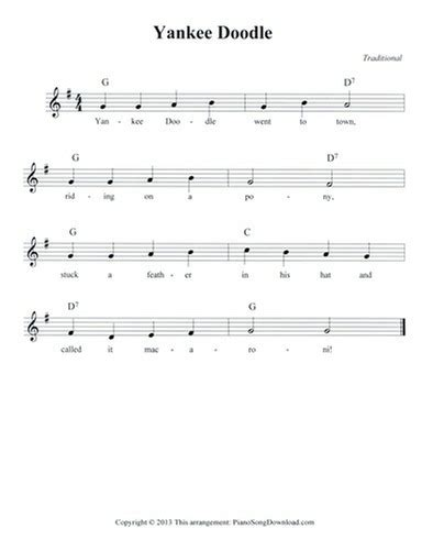 free of yankee doodle yankee doodle free lead sheet with melody chords and lyrics