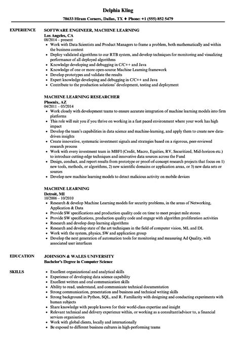 Resume Format For Msc Computer Science Freshers Free machine learning resume sles velvet