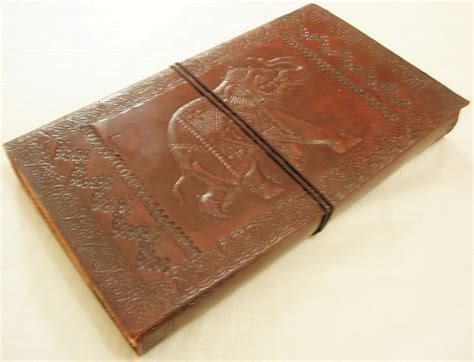 Handcrafted Journal - handcrafted elephant embossed leather journal personalized
