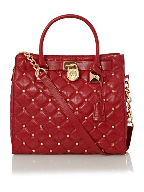 Michael Kors Hamilton Quilted Tote michael kors hamilton stud quilted large tote in lyst