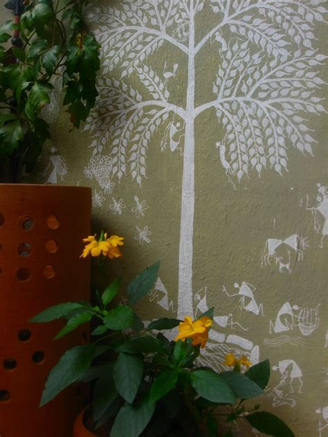 outdoor wall mural stencils outdoor warli indian home decor trees balconies and stencils