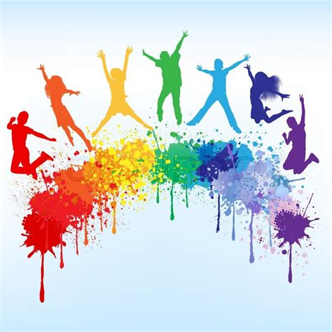 background design for youth colorful bright ink splashes and kids jumping on blue