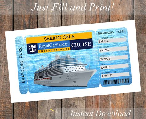 free printable cruise ticket template printable ticket for a royal caribbean cruise by