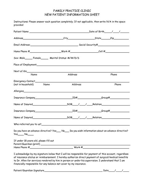 template for patient information sheet 28 images 11