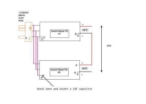 why put capacitor before ground using two power supplies for higher voltage capacity chargers safety issues rc groups