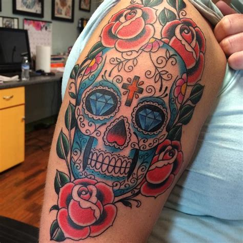 sugar skull tattoo designs for women day of the dead on s shcoulder with diamonds