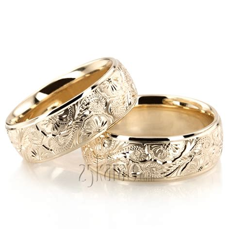 HH FC100866 14K Gold Trendy Floral Wedding Band Set