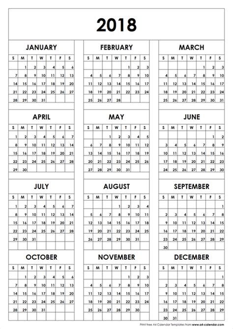printable calendar 2018 a4 2018 calendar a4 size template to print on we heart it
