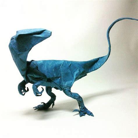 Velociraptor Origami - fabulous paper sculpture velociraptor dinosaur