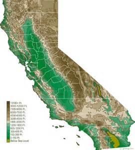 california california elevation map california