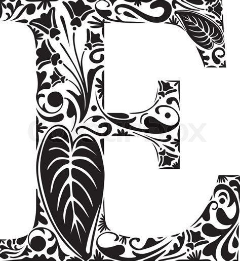 E M O R Y Ellionis floral initial capital letter e stock vector colourbox