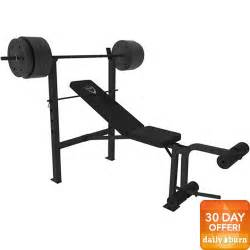 Bench Barbell Cap Barbell Deluxe Bench W 100 Pound Weight Set Walmart Com
