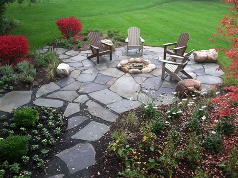 Barrington Backyard Flagstone Fire Pit Patio Flagstone Patio With Firepit