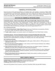 criminal investigator federal resume sle