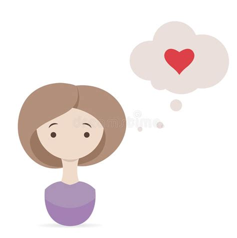 cute cartoon girl thinking royalty free stock photos valentine day wish cute girl thinking about love stock