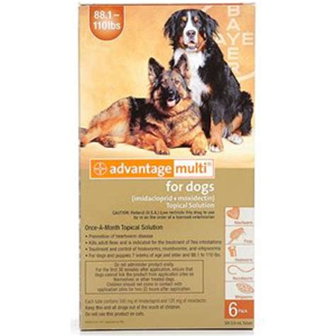advantage multi for dogs 6 pack advantage multi for dogs 88 110 lbs 6 month brown supply vetdepot