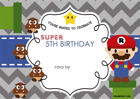 free mario bros 5th birthday invitation template