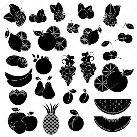 imagenes blanco y negro de frutas negro blanco vcetor iconos frutas y bayas vector de